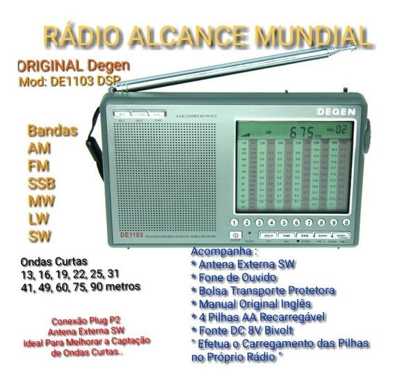 Rádio Original Degen De1103 Dsp Fm Am Ssb Sw Ondas Curtas