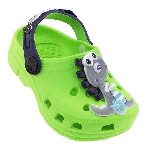 Babuche Crocs Plugt Infantil Verde Dinossauro
