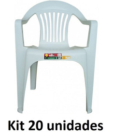 Kit 20 Cadeira Plástica Poltrona Branca Carga Máxima 182kg