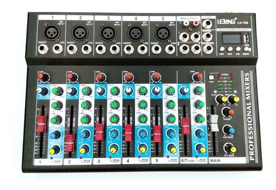 Mesa De Som Le-709 Bluetooth Usb Mixer Mp3 Digital 6 Canais