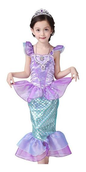 Vestido Sirena Princesa Rendimiento Falda Para Niña