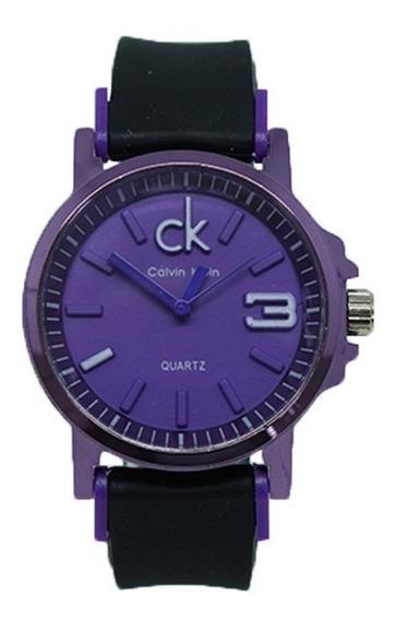 Relógio Feminino Calvin Klein Borracha Preto E Roxo Metálico