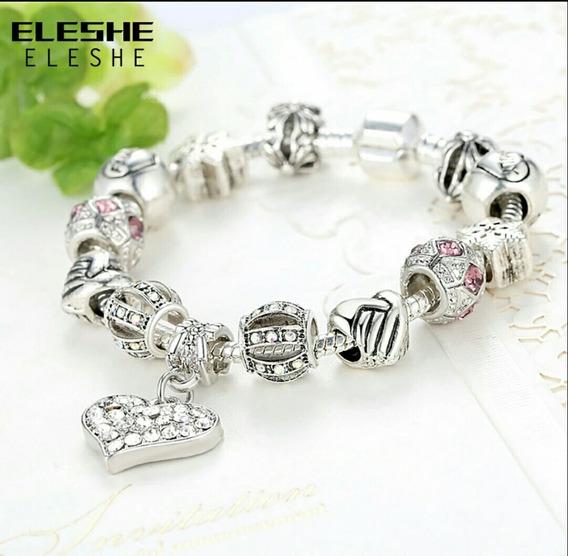 Pulseira Bracelete Prata Zinc Alloy Contas Cristal 19cm