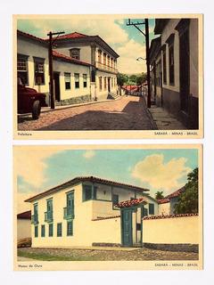 Cartao Postal Tipografico 2 Diferentes - Sabara Mg - Anos 50