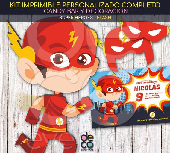 Tarjetas Y Kit Imprimible Cumpleaños - Flash - Super Héroes