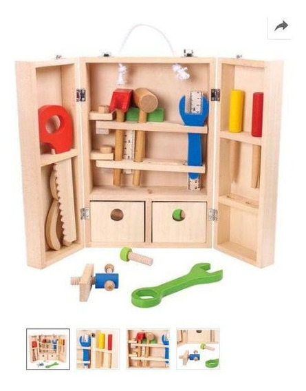 Conjunto Meu Pequeno Carpinteiro Em Madeira - Maleta Com Ferramentas - Tkl2076 - Tooky Toy