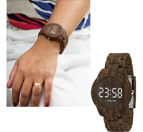 Relógio Feminino Lince Amadeirado Original Mdp4614p Bxnx
