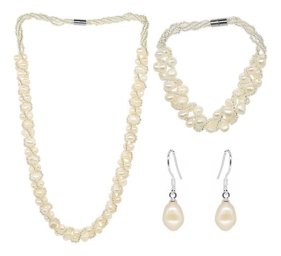 Conjunto De Perlas Cultivadas, Ocean Heart, Modelo Ac15-10