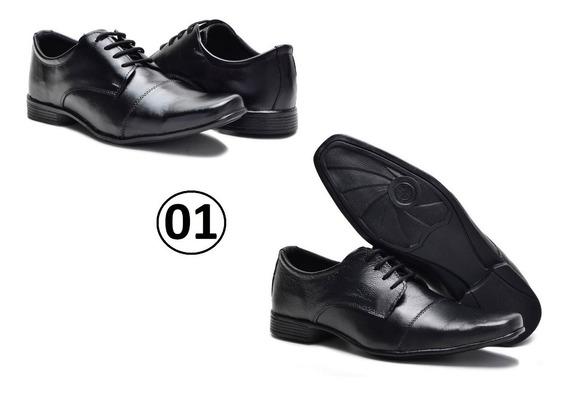 Kit 2 Pares Sapato Masculino Social C/ Cadarço Confortável