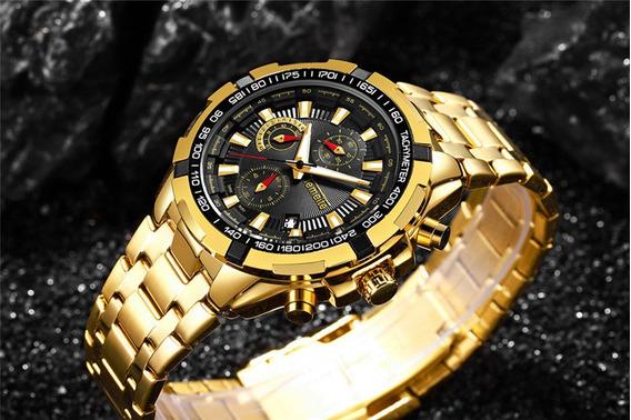 Relógio Temeite Masculino Dourado Mostrador Preto Original