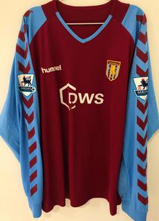Camisa Aston Villa 2004/05 Mellberg #4 Mangas Longas Rara