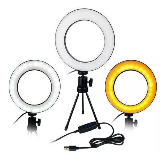 Iluminador De Led Com Tripe Ring Light Usb 26cm 3500k 5500k