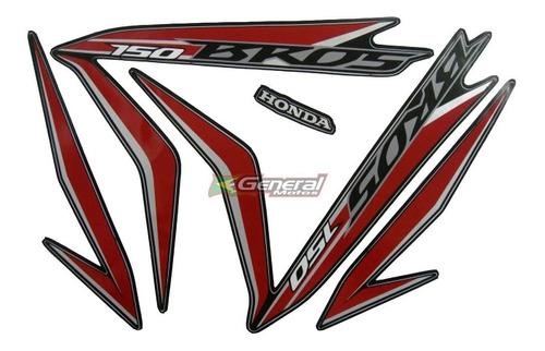 Kit Adesivo Jogo Faixa Moto Honda Bros 150 2013 Es Esd Preta