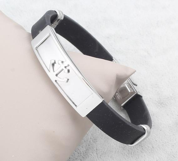 Pulseira Bracelete Silicone Masculina Placa Âncora Aço Inox