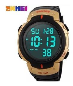 Relógio Masculino Skimei 1068 Original Digital Led Dourado.