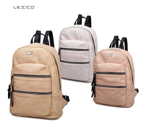 Mochila Lexico Con Compartimentos -100% Pu Cuero - Art. L369