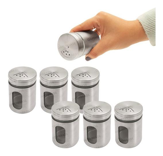 Kit C/ 6 Unidades Porta Temperos Em Aço Inox / Vidro - Bares E Restaurantes! Excelente Qualidade! Saleiro E Pimenteiro