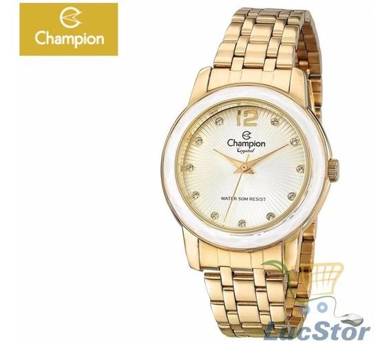 Relogio Champion Cristal Cn27223h Dourado Feminino C/strass