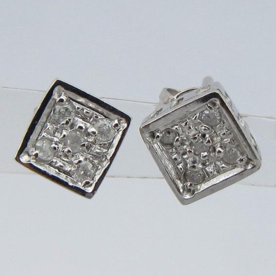 1914 Brinco Quadrado Com 5 Diamantes Maravilhoso
