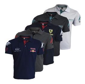 Camisa Polo Formula 1 Mclaren Mercedes Rbr 5 Peças
