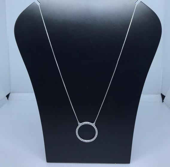 Cordão De Prata 925 Com Aro Cravejado Em Zircônias