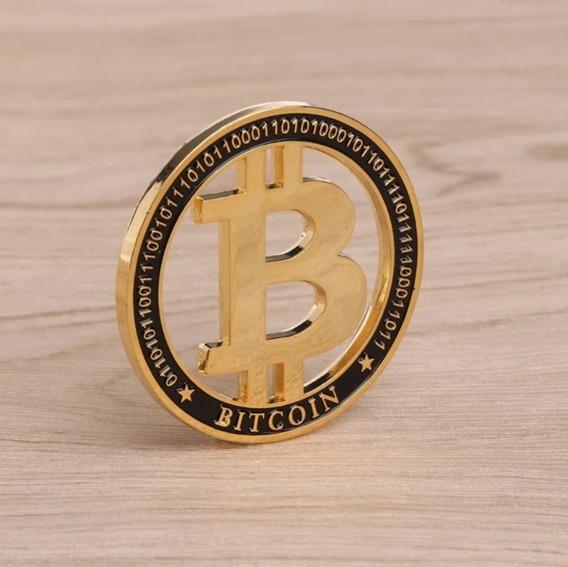 Moeda Bitcoin Ouro + Porta-moedas + Cápsula De Acrílico