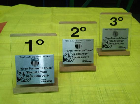 Trofeo Acrilico Madera Y Plaqueta De Aluminio Por 6 Unidades