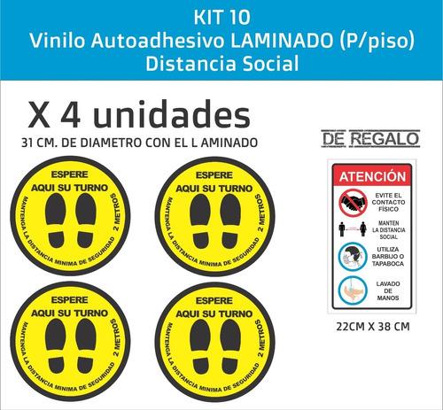 Imagen 1 de 4 de Vinilos P/ Piso, Distanciamiento Social, X4 Unid. Laminadas