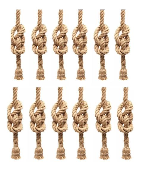 12 Lustre Luminaria Pendente Rustico Corda Retro Promoção