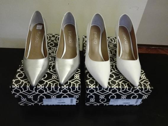 Zapatos De Cuero -talle 38- Blanco Y Plateados Nuevos! 2800$