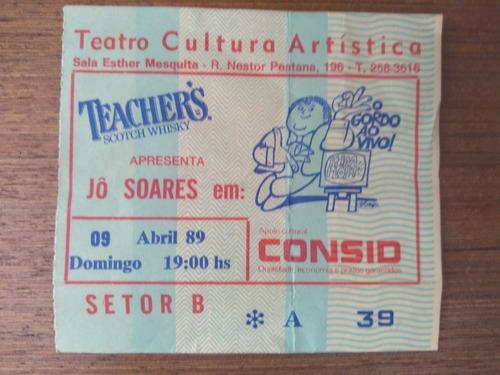Ingresso Jô Soares De 1989 Raro Teatro Cultura Artística