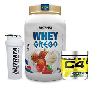 Combo Suplemento Whey Protein Grego + C4 Cellucor Pre Treino