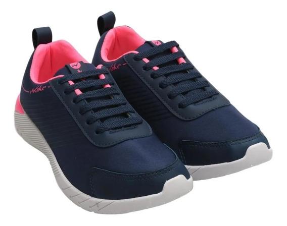 Zapatillas Mujer Deportiva Acordonadas Livianas Wake 1826