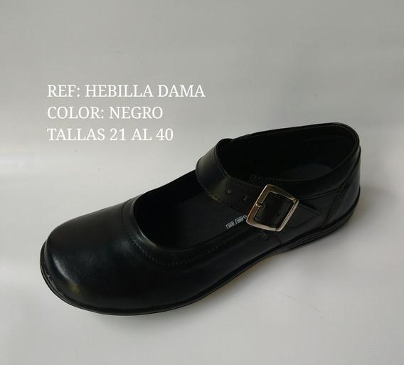 Zapato Colegial Escolar Para Mujer Mafalda Cuero Color Negro