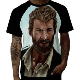 Camiseta Raglan Marvel Logan Wolverine X Men Hq Arte Desenho