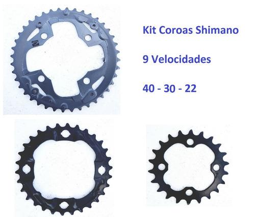 Imagem 1 de 1 de Kit Coroa Shimano Alivio M4000 M4050 Bcd 96 27v 3x9 40 30 22