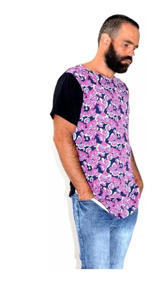 Camiseta Blusa Swag Longline Oversized Floral Camisa
