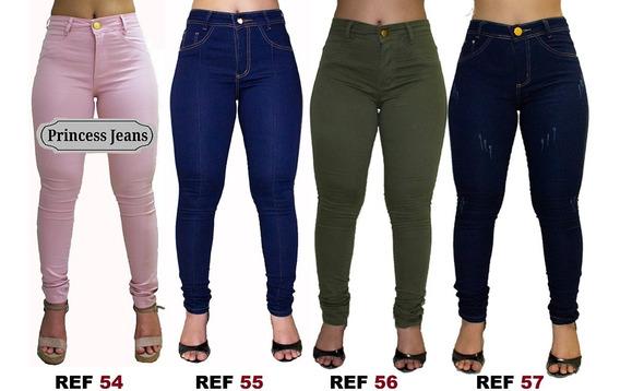 Kit 3 Calça Jeans Feminina, Cintura Alta, Lycra, Hot Pants