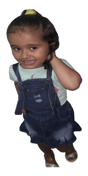 Jardineira Jeans Infantil Kit Com 4 Por Apenas R$140,00