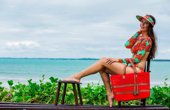 Bolsa Moda Praia Premium Barca Em Tela Vermelha