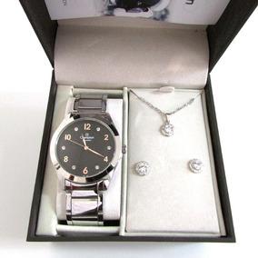 Relógio Champion Feminino Cn29230x Kit Presente 3 Peças