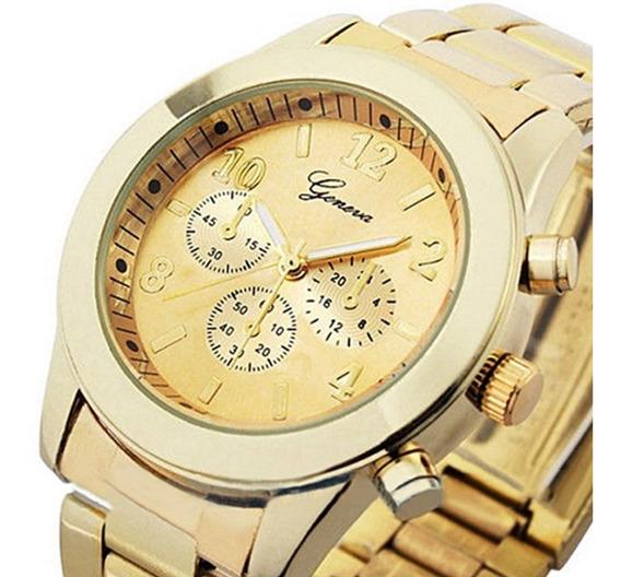 Relógio Feminino Geneva Dourado Pulseira De Aço Oferta