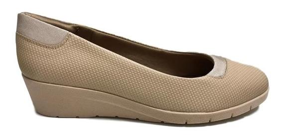 Sapato Usaflex Anabela Baixo Marfim