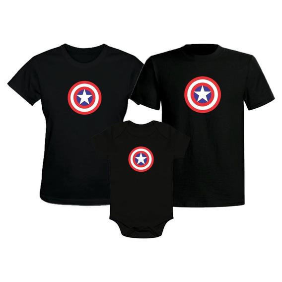 Kit Família Camiseta Capitão América Os Vingadores 4 Peças