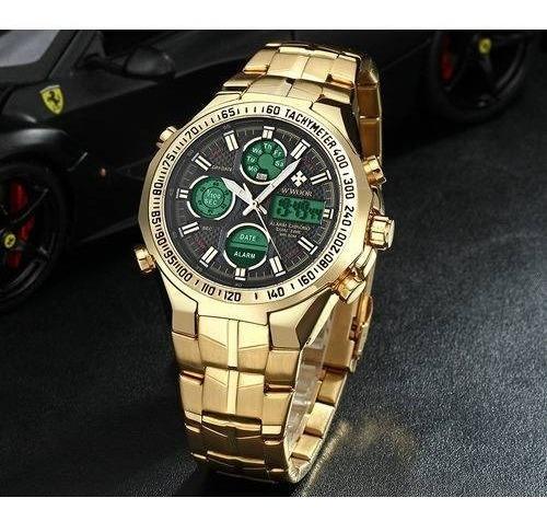 Relógio Masculino Wwoor Original Luxo Gold Promoção + Brinde