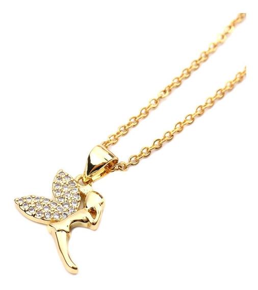 Collar Campanita Dorado Piedras Brillantes Acero Oro Platina