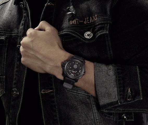 Relógio Masculino Militar Naviforce Pulseira Couro Promoção