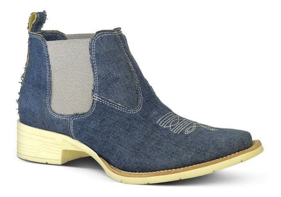 Botina Feminina Confort Jeans Bico Quadrado Silverado