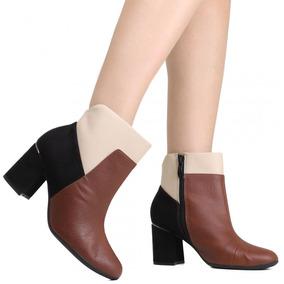 Bota Feminina Piccadilly Cano Curto Ankle Boot Preta 155005