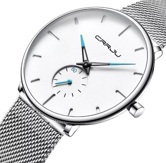 Relógio Masculino De Luxo Ultra Fino Casual Esportivo Crrju Original Garantia Brinde A Prova D